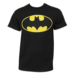 BATMAN DC Comics Classic Yellow Bat Logo Black Graphic T Shirt