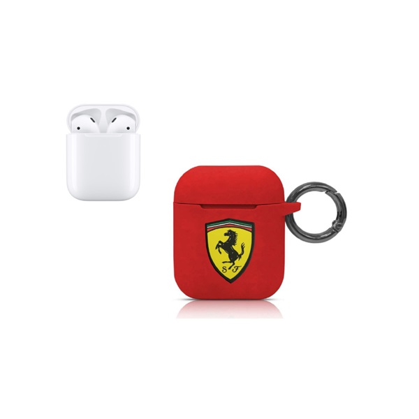 Ferrari Airpod Case Cover With RING/ Printed Shield LOGO- Red