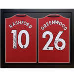 Manchester United FC Rashford & Greenwood Signed Shirts (Dual Framed)