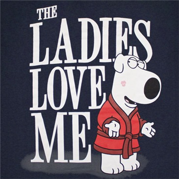 FAMILY GUY Brian Ladies Love Me Navy Blue Graphic Tee Shirt