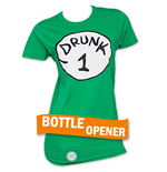 Drunk 1 Bottle Opener Womens Green Tee Shirt