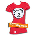 Drunk 2 Bottle Opener Womens Red Tee Shirt