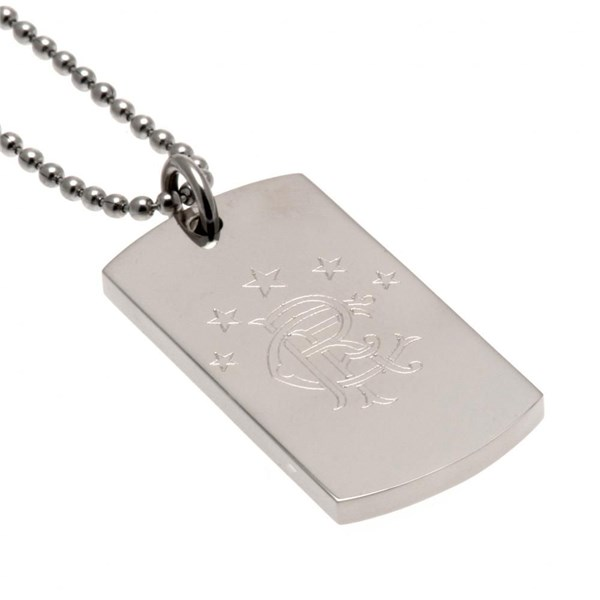 Rangers F.C. Engraved Crest Dog Tag and Chain