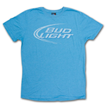 BUD LIGHT Junk Food Faded Design Heather Blue Graphic TShirt