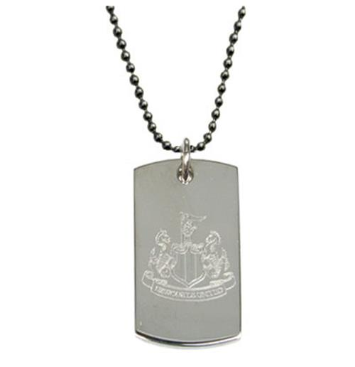 Newcastle United F.C. Engraved Crest Dog Tag and Chain