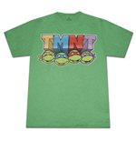 TEENAGE MUTANT NINJA TURTLES 4 Faces T Shirt Green