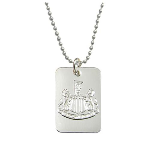 Newcastle United F.C. Silver Plated Dog Tag and Chain