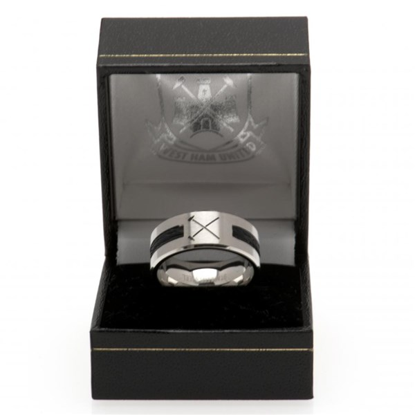 West Ham United F.C. Black Inlay Ring Medium