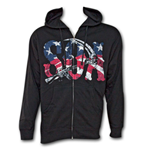 SONS OF ANARCHY Reaper American Flag Zip-up Hooded Sweat Shirt -  Black
