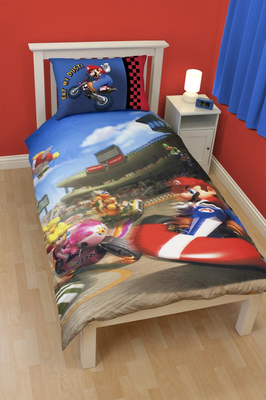 super mario bed linen singel panel super mario design race for only c at. Black Bedroom Furniture Sets. Home Design Ideas