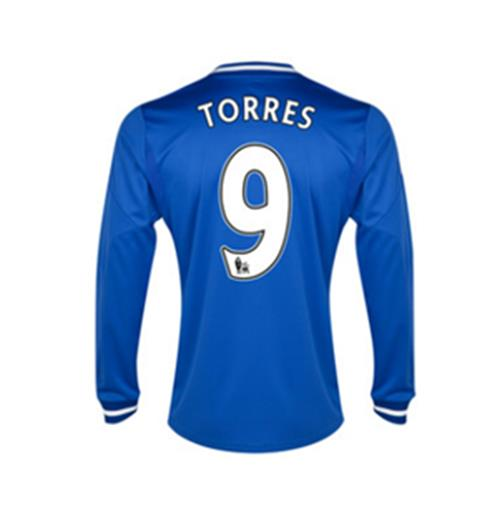 2013-14 Chelsea Home Long Sleeve Shirt (Torres 9) - Kids